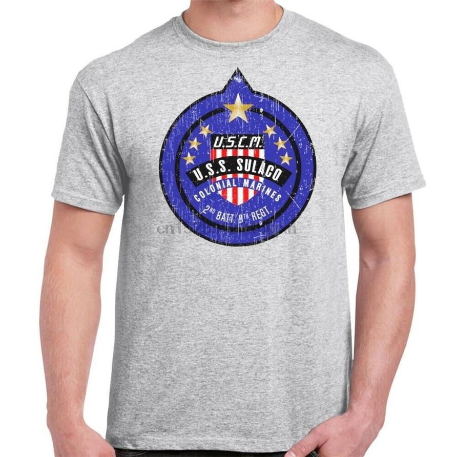 Uscm Colonial Marines Patch破洞運動灰色T恤健美