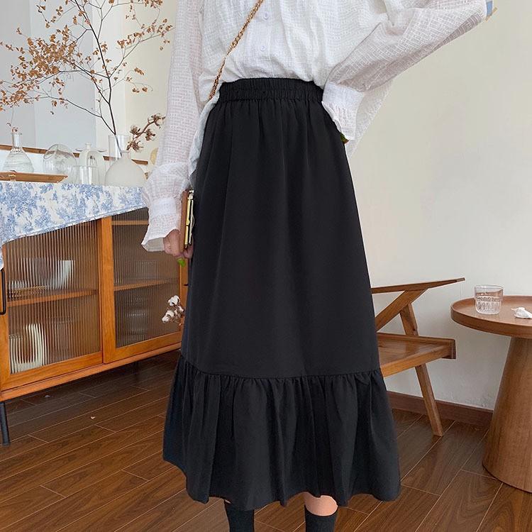 【HOT 本舖】復古文藝風 魚尾裙 長裙 韓版裙子中長款 拼接設計 黑色裙子 寬鬆顯瘦 鬆緊腰 有內襯 氣質穿搭