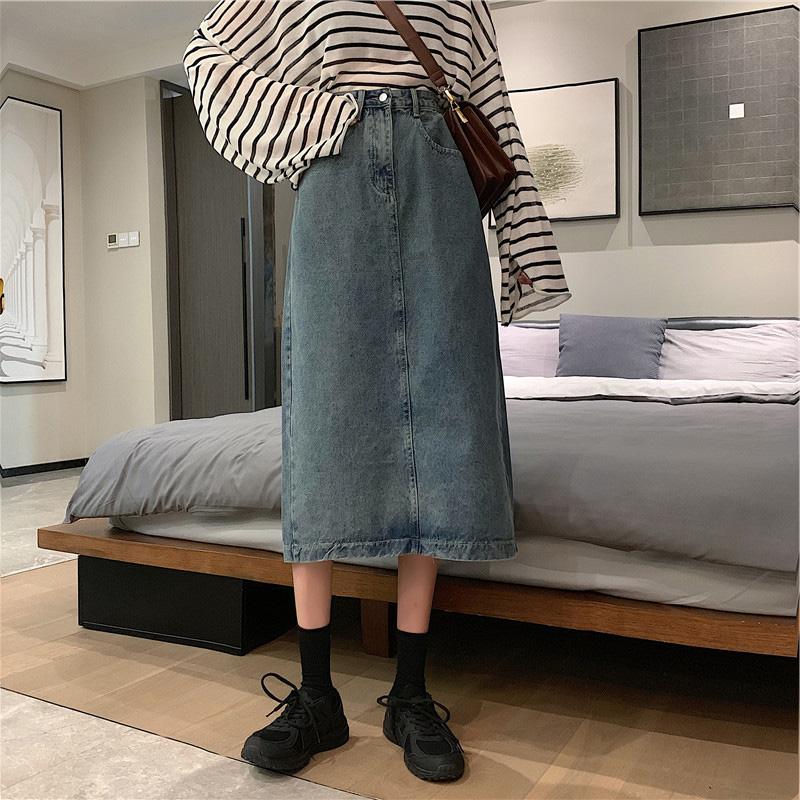 youbala 優芭拉女裝半身裙2020秋季新款遮胯顯瘦中長款高腰牛仔裙