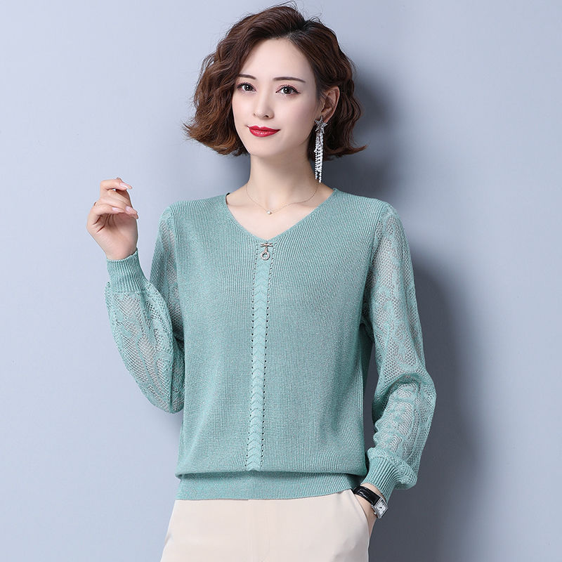 韩版 冰丝春装 新款女装秋季上衣薄款针织打底衫宽松毛衣