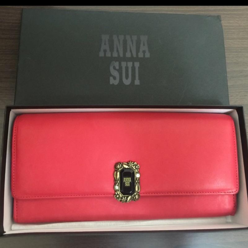 安娜蘇 ANNA SUI 紅色典雅氣質長夾㊣專櫃真品