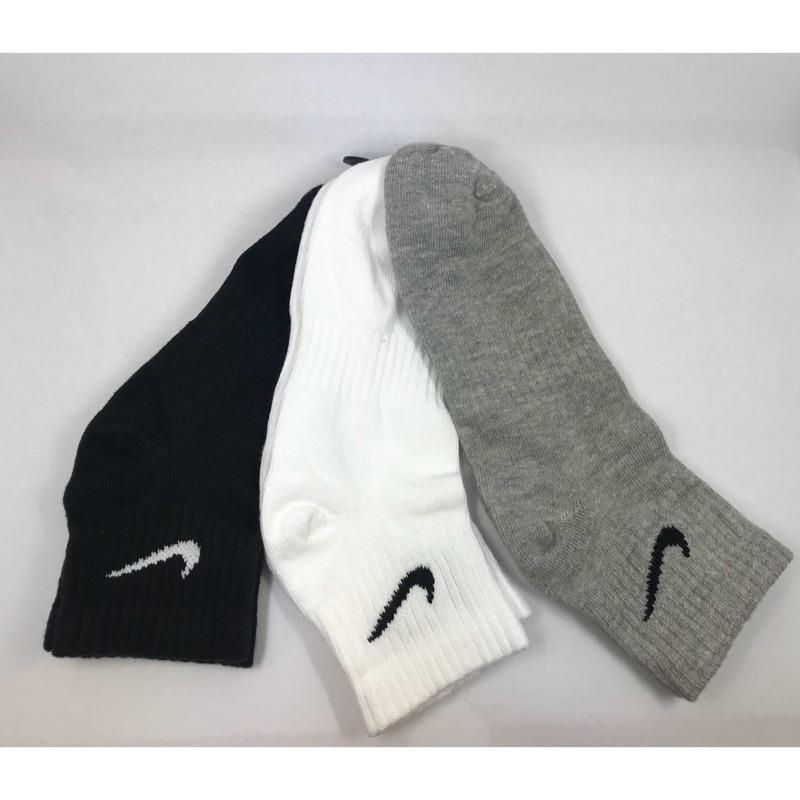 NIKE 黑白灰三色入 薄底 LOGO基本款 舒適中筒襪 SX7677-901 運動襪