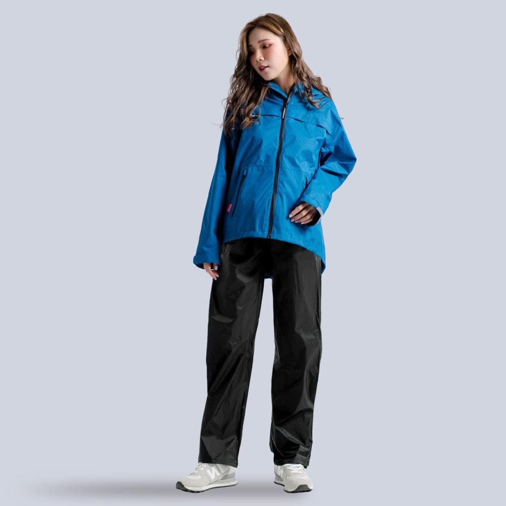 BrightDay 兩件式雨衣 背MAX外套兩件式雨衣(搭配黑色尼龍雨褲) 藍 雨衣《淘帽屋》