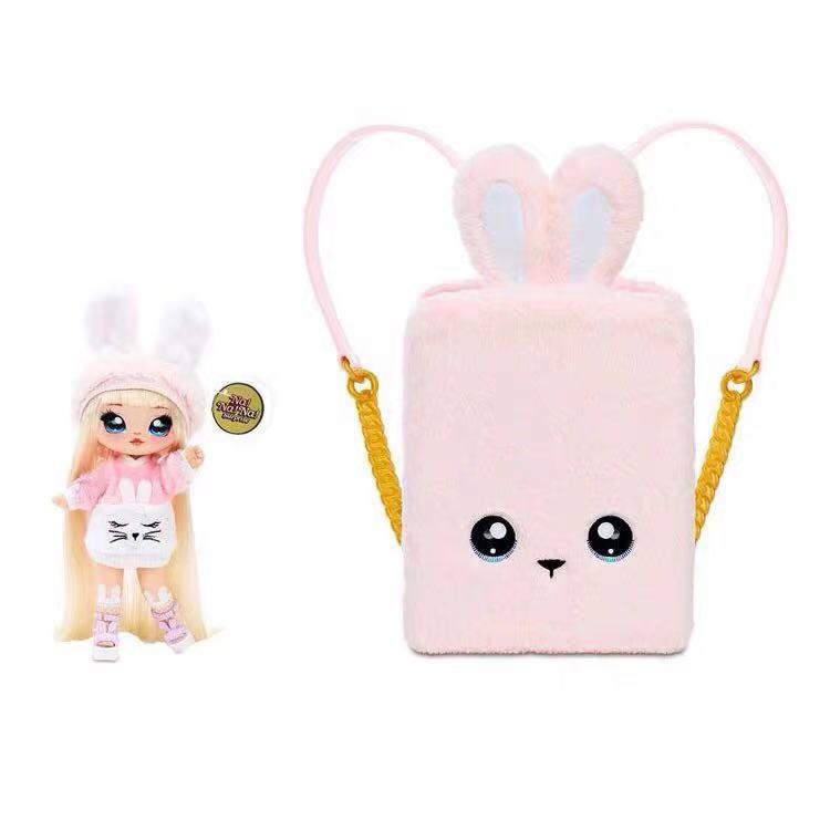 新款nanana surprise 30cm惊喜公仔娃娃背包粉兔黑猫惊喜盲盒手脚可动娃娃玩具