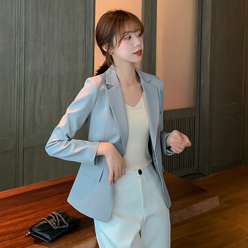 【彩黛妃】秋冬新款韓版女士上衣休閒顯瘦西服長袖百搭修身小西裝外套女