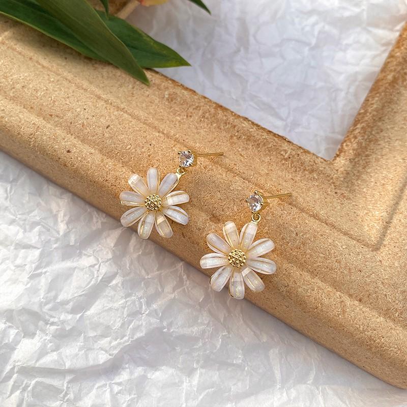 S925銀針耳釘女超仙水晶花朵氣質耳環韓國個性甜美小清新少女耳飾 C362