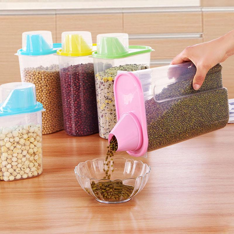 現貨 2.5L大號有蓋密封雜糧儲物罐 高透明收納罐 廚房收納儲物罐 塑料米桶 零食收納盒 防潮