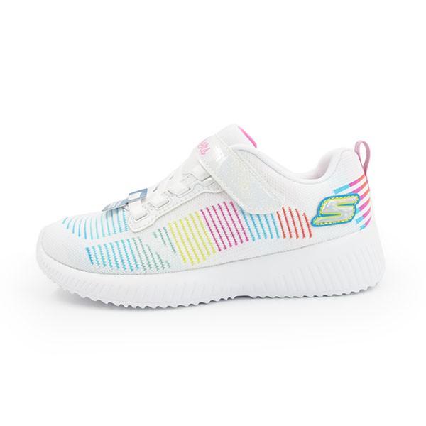 SKECHERS Fresh Delight 中童鞋 童鞋 運動鞋 針織 白彩色線條 【302379LWMLT】