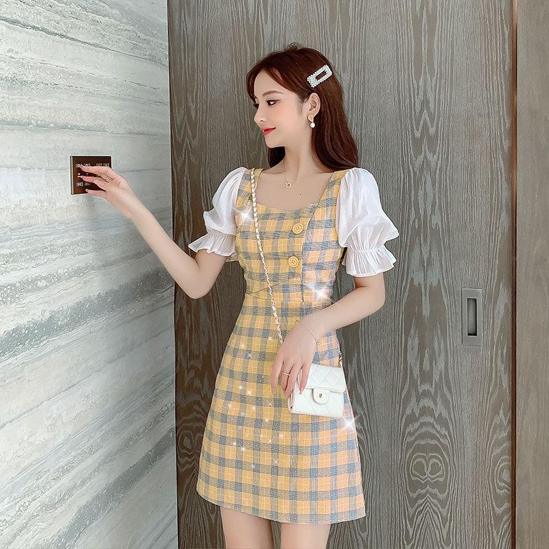 洋裝2021新款流行溫柔風法式初戀桔梗洋氣短袖雪紡拼接裙子