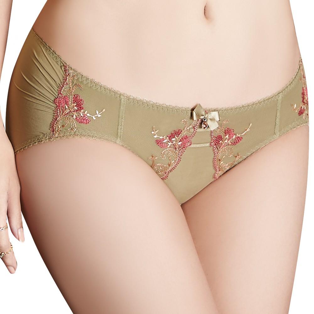 SWEAR 思薇爾 戀戀金紗系列M-XL刺繡蕾絲低腰三角內褲(鉻金綠)