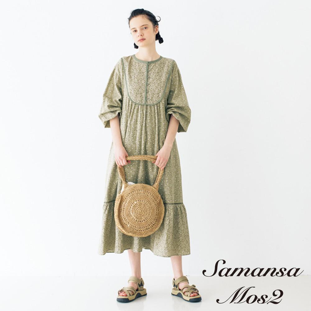 Samansa Mos2 碎花圖案配色滾邊設計連身洋裝-附襯裙(FL12L0H0580)