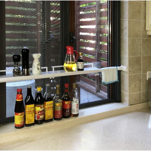 【Z百貨店】窗臺收納分層隔板廚房窗戶免釘置物架浴室分隔層架陽臺伸縮整理架