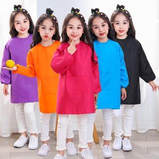 兒童畫畫衣長袖罩衣反穿衣幼兒園園服定制LOGO小孩吃飯衣防水圍裙