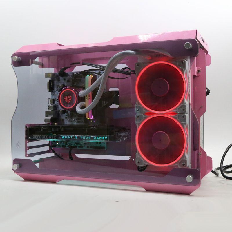 XG。外殼遊戲個性電競骨架定制主機matx電腦遊戲主機殼顏色粉色個性。