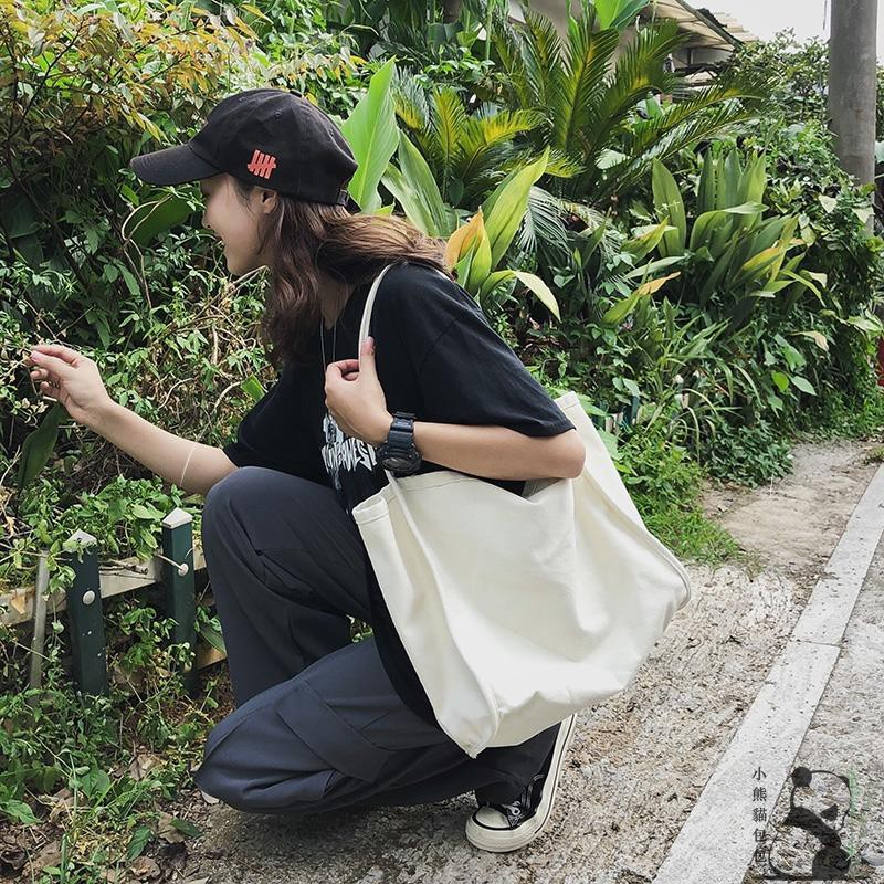 韓版 日韓流行 大容量帆布女包 單肩 帆布包 肩背包 學院風 復古 環保袋 購物袋