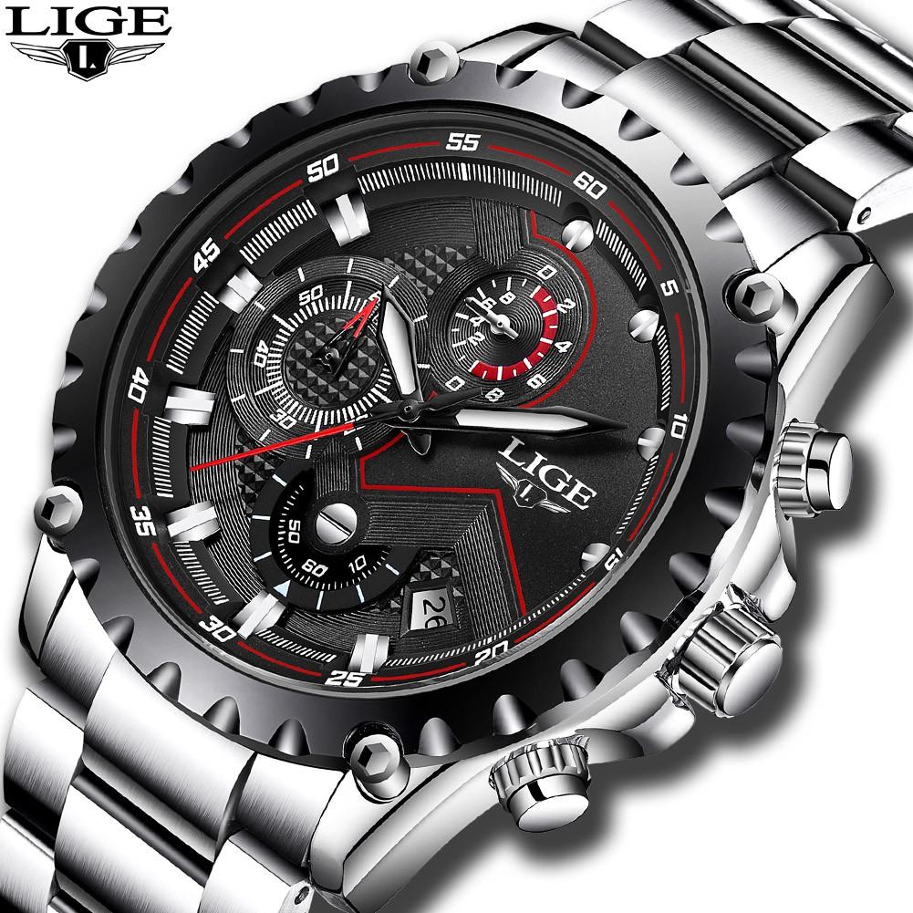 現貨正品LIGE品牌多功能計時錶 運動手錶 防水手錶 不銹鋼帶腕錶 學生手錶 夜光日曆潛手錶
