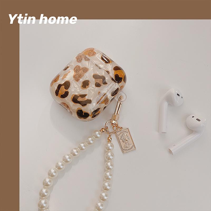 ytin韓風豹紋適用於AirPods保護套AirPodsPro耳機套蘋果防摔硅膠AirPods2保護殼ins風網紅藍牙耳
