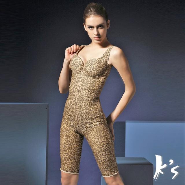 【K's凱恩絲】水晶網紗系列無罩杯連身大腿膝上款塑身衣-超值3件組(多國專利認證)