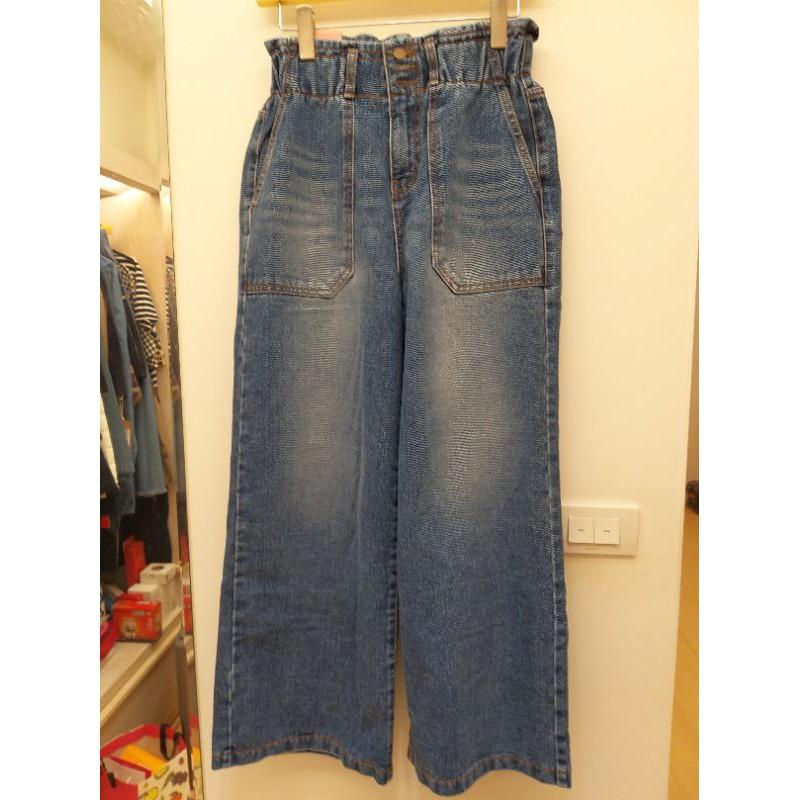 全新品-牛仔刷色寬褲