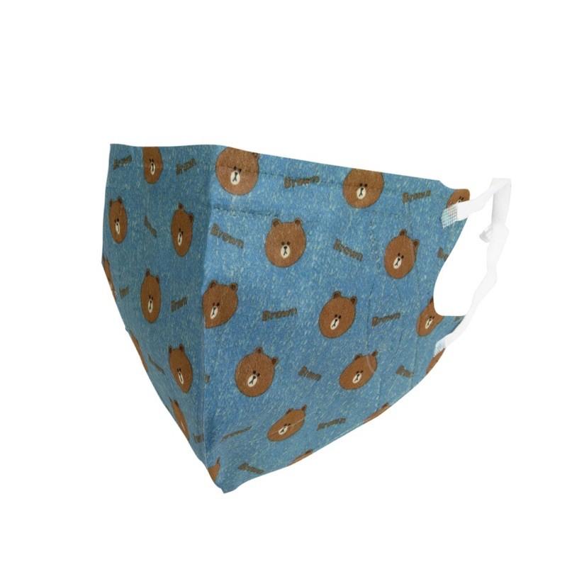 LINE 熊大 3D立體口罩-單寧L(盒裝25入)