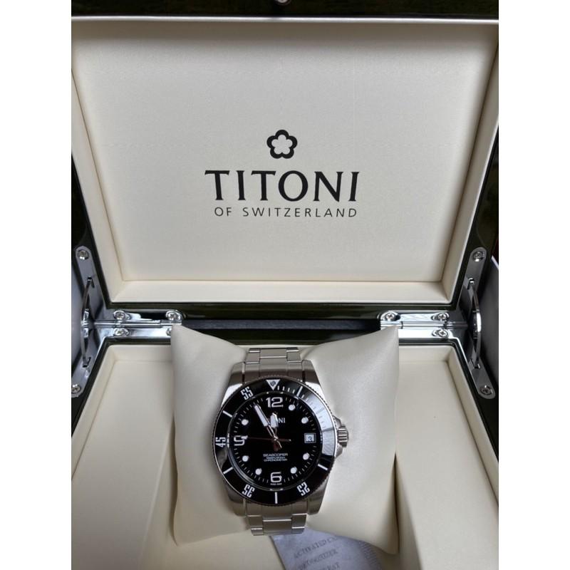 二手-梅花錶 Titoni seascoper 600m 黑面