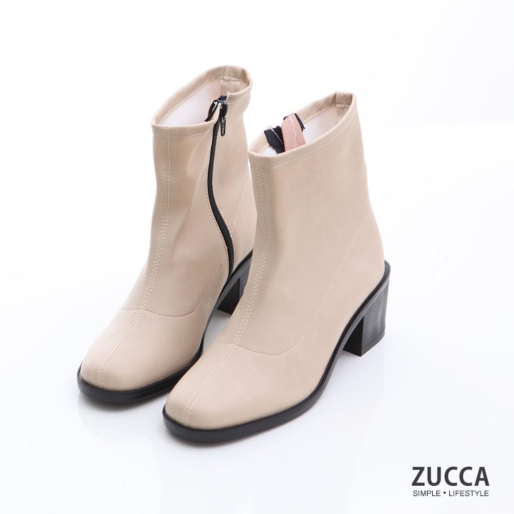 【ZUCCA】素純皮革側拉鍊低跟短靴-z6907we-白