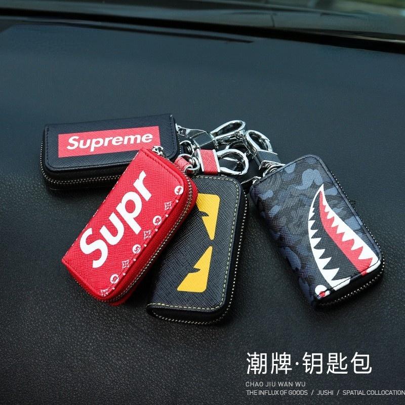 熱賣商品 潮牌汽車鑰匙包 車用鑰匙扣 創意鑰匙包 汽車鑰匙包 鑰匙包 鑰匙圈 鑰匙皮套 supreme鑰匙包套