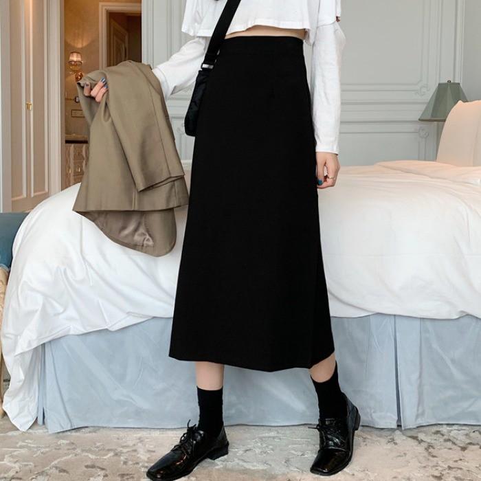 黑色裙子氣質一步半身裙中長款高腰a字顯瘦包臀裙