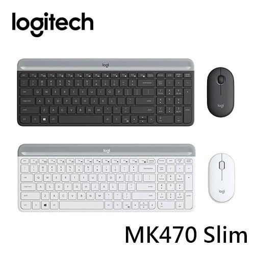 Logitech 羅技 MK470 Slim 纖薄無線鍵盤滑鼠組 石墨灰/珍珠白