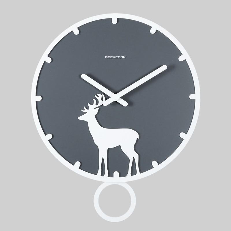 【各種鐘】新品北歐掛鐘木質簡約搖擺裝飾客廳時鐘臥室傢用靜音創意現代鐘表