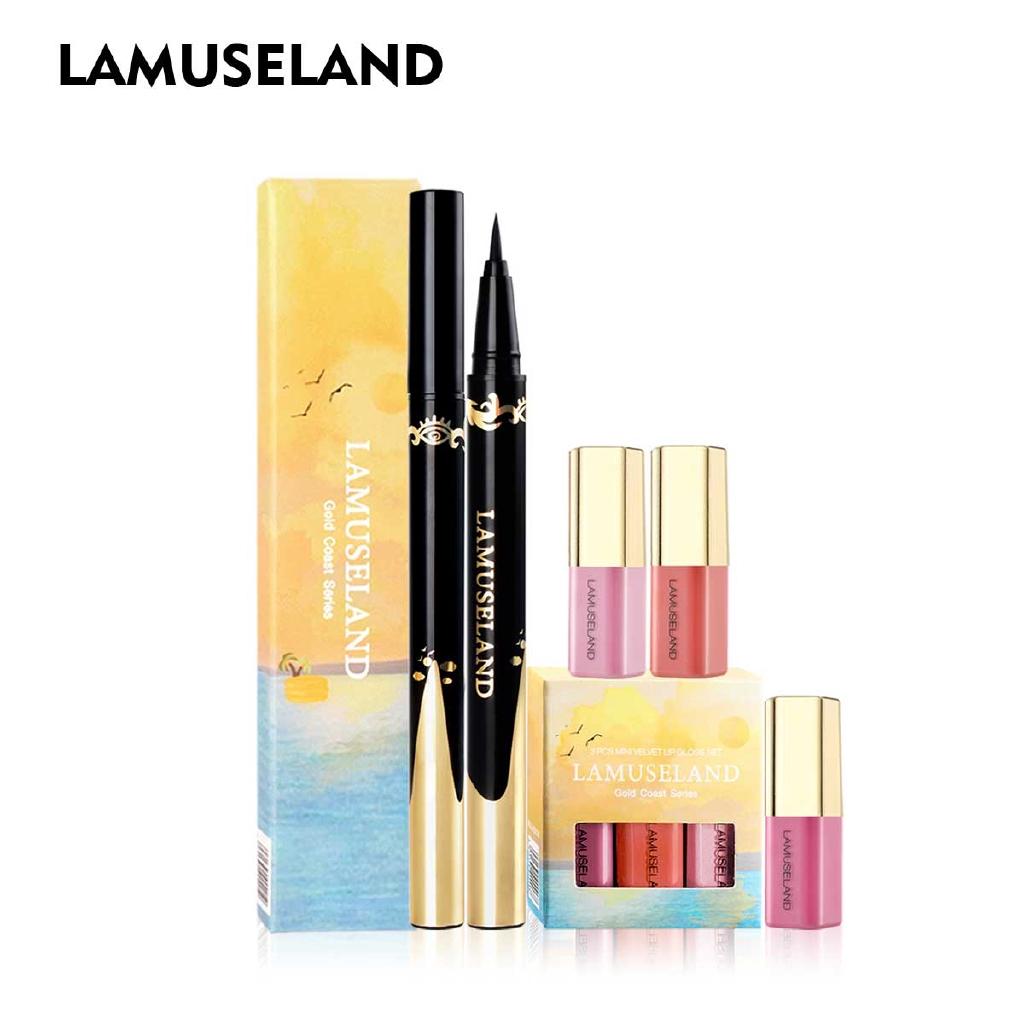 拉慕絲蘭 彩妝套裝3件套 唇彩和防水黑色眼線筆 LAS401