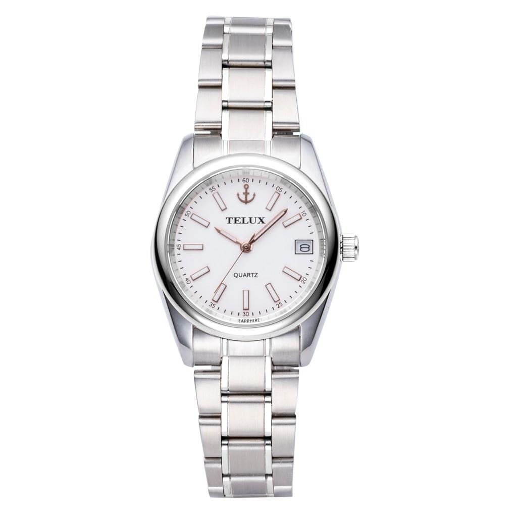 台灣品牌手錶腕錶【TELUX鐵力士】仕女腕錶手錶25mm台灣製造石英錶7010LW-W15 鋼帶白面-另有男款