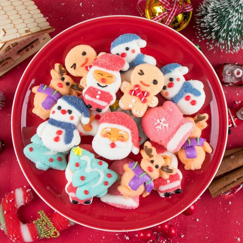 🎅現貨 熱銷🎅 聖誕糖果 禮物 袋裝可愛聖誕老人雪人小棉花糖平安夜禮品 聖誕節 軟糖