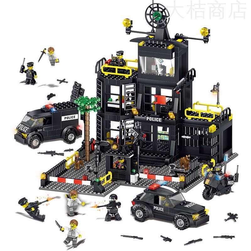 【大桔商店】城市警察系列積奇樂42017機變特警察局大樓警車小顆粒益智力兒童拼裝積木玩具兼容樂高