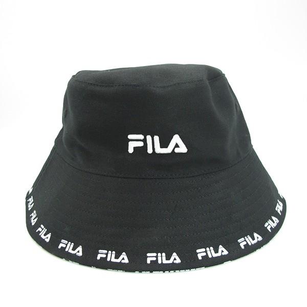 FILA 漁夫帽 雙面帽 小串標LOGO 塗鴉 黑色【HTV-1206-BK】
