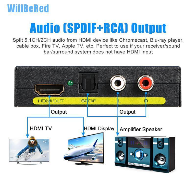 [Willbered] 1080p Hdmi 轉 Hdmi 光學 + Spdif + Rca L / R 提取器轉換器音