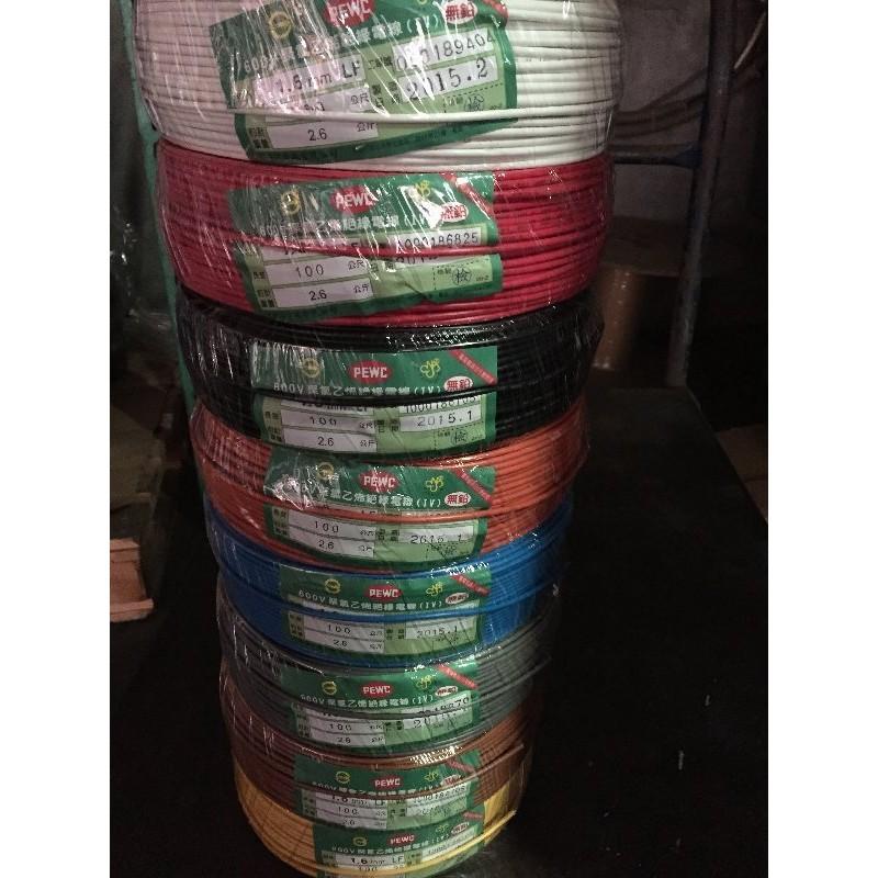太平洋 PVC電線 1.2 1.6 2.0單芯線【電料王】全新  100米 (1丸) 多色