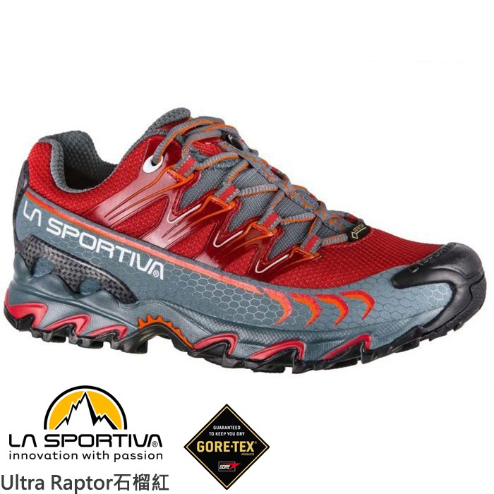 LA SPORTIVA 女 Ultra Raptor GTX 防水透氣越野跑鞋 登山鞋 石榴紅 26S308903