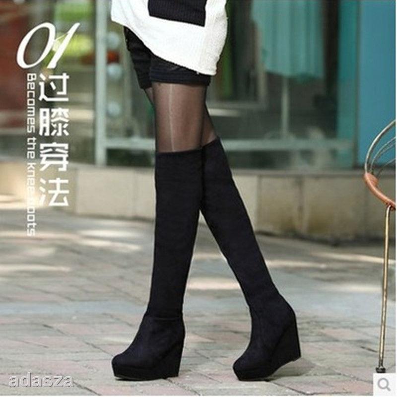 抖音網紅靴子女冬加絨長筒學生韓版厚底新款長靴子高跟坡跟長靴女過膝顯瘦