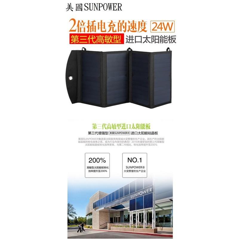 美國SUNPOWER 太陽能充電板 24W 双USB+DC 2倍電充速度第三代高敏型 可充手機 平板 行動電源 相機登山