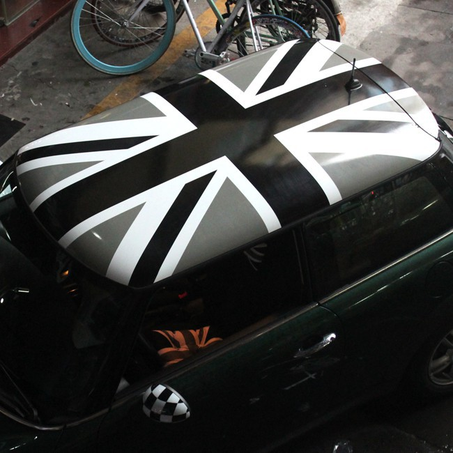 寶馬迷你MINI COOPER ONE車頂貼紙 黑白灰米字旗車貼拉花改裝