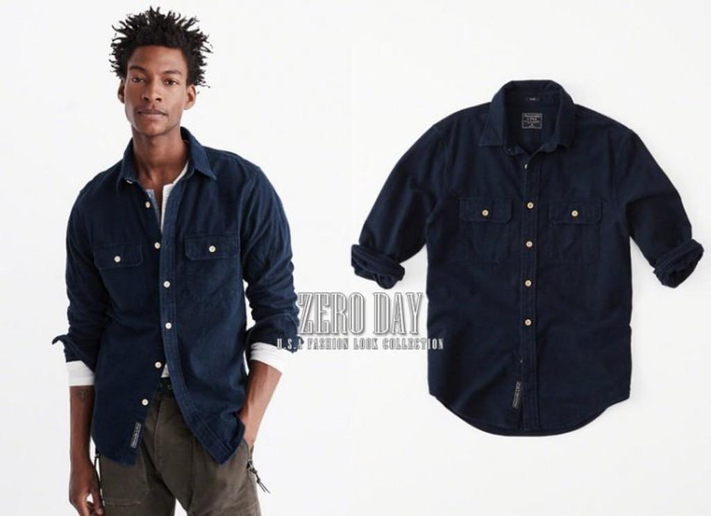 【零時差美國時尚網】Abercrombie&Fitch; Chamois Woven Shirt厚實襯衫外套深藍色