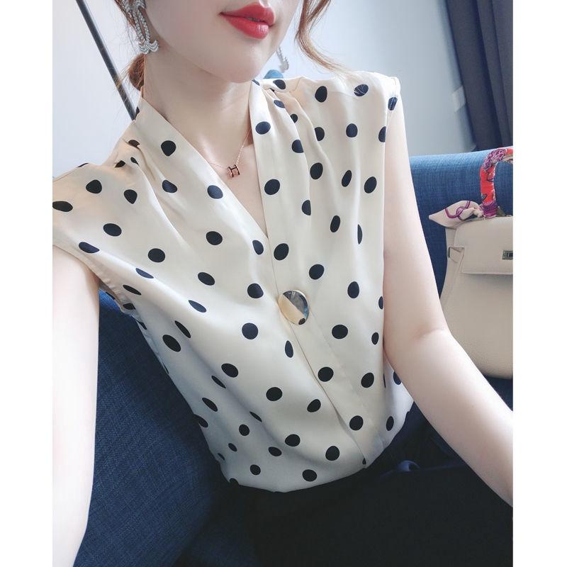 法式波點雪紡衫無袖襯衫簡約襯衫女百搭時尚職業襯衣 上衣女V領 夏季新款寬鬆顯瘦 洋裝 氣質小衫襯衣