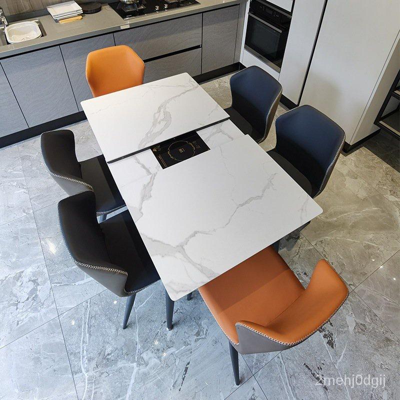 【台灣現貨  促銷】伸縮岩板餐桌椅組合多功能電磁爐現代餐廳桌椅輕奢火鍋桌飯桌 桃園