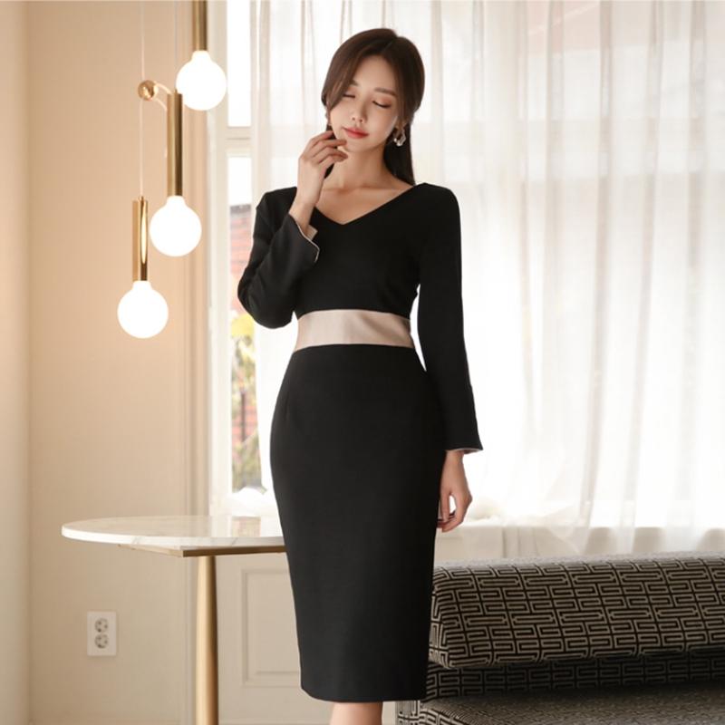 簡約收腰洋裝氣質包臀連衣裙office lady女生尺碼正韓洋裝