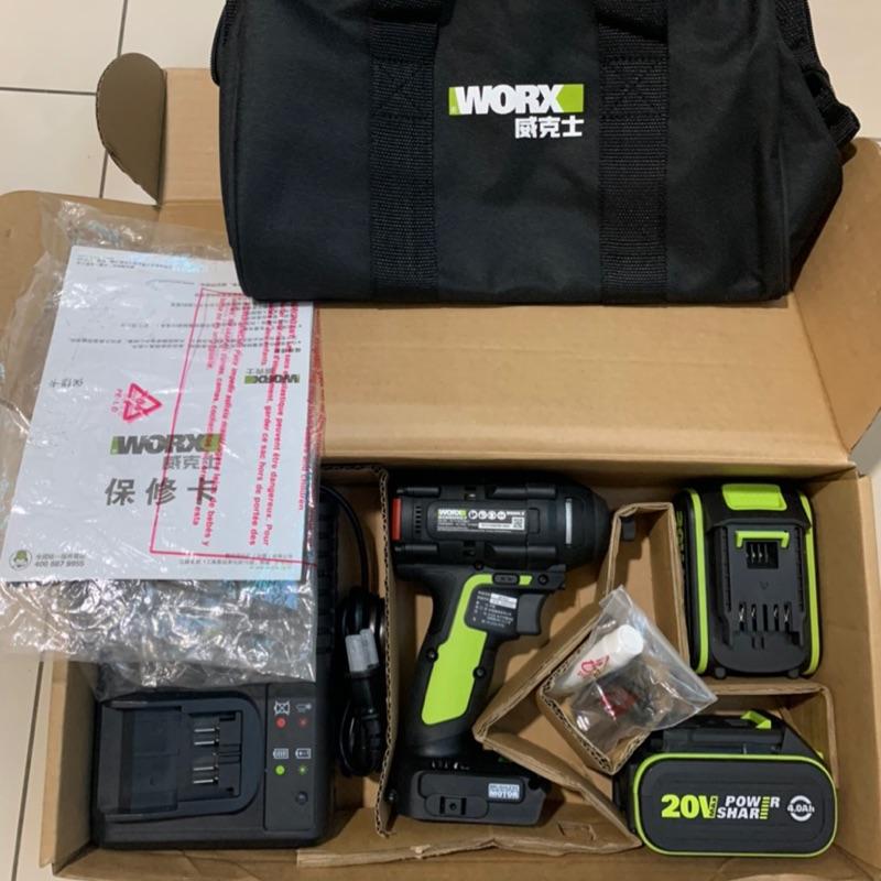WORX 威克士 WU294.2 20V 4.0Ah 充電式鋰電無刷衝擊起子 - 雙電池套裝組 (免運)