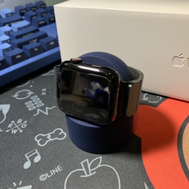 Apple Watch S4 44mm 不銹鋼 黑 LTE 44mm 米蘭錶帶 有ECG 港版