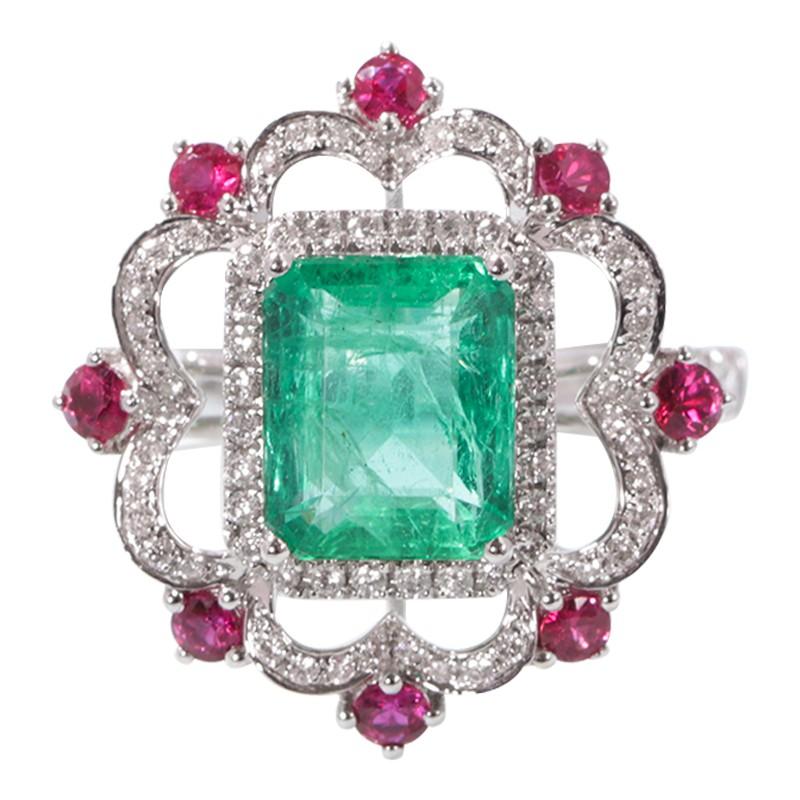 【巧品珠寶】天然彩色寶石贊比亞產祖母綠搭配曲線豪華滿鑽點綴紅寶石戒指
