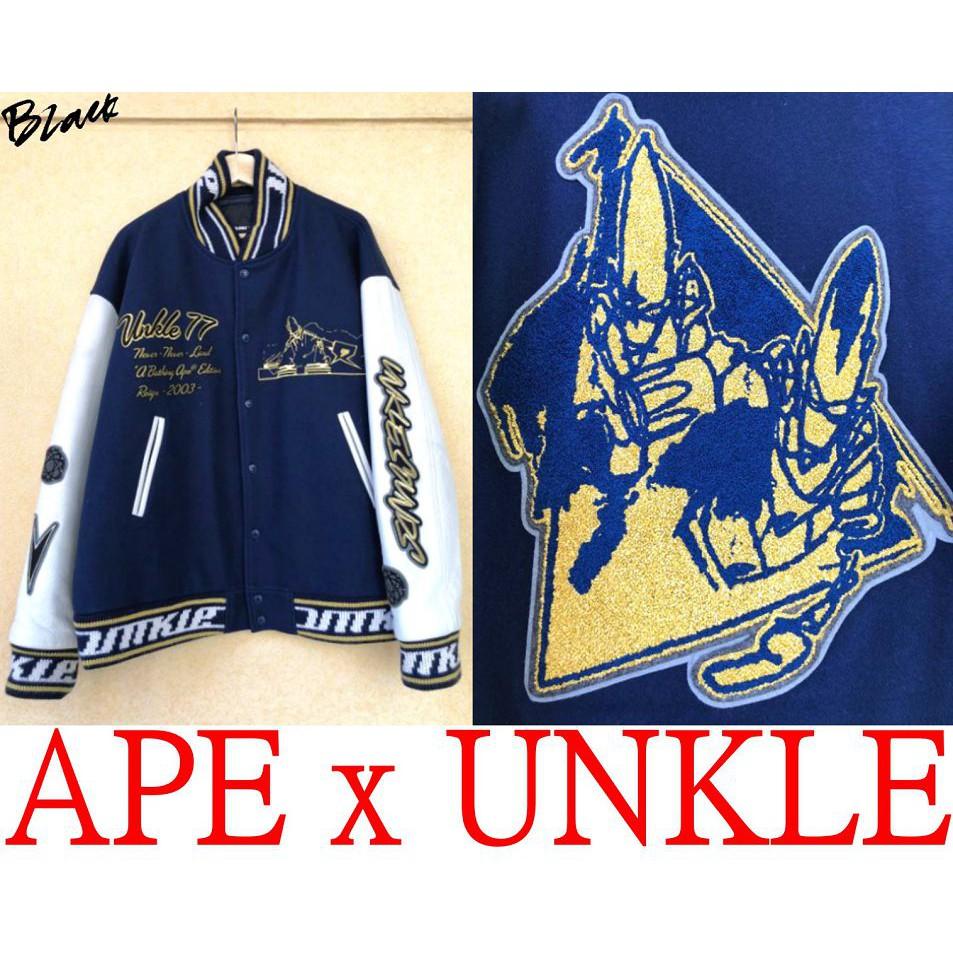 BLACK近全新APE x FUTURA水鑽原子球POINTMAN刺繡UNKLE羊毛牛皮袖棒球外套