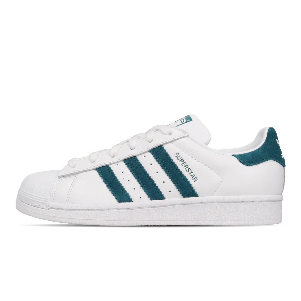 adidas 休閒鞋 Superstar W 白 藍綠 貝殼頭 女鞋 愛迪達 三葉草 EF9248 【ACS】